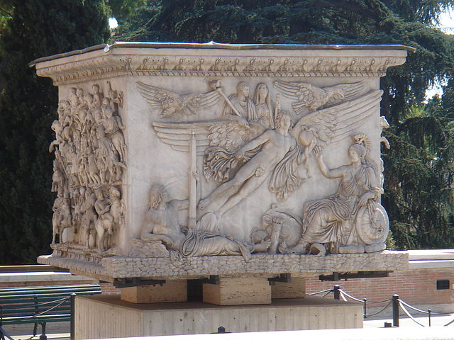 The apotheosis of the emperor Antoninus Pius and his wife Faustina - photo: Lalupa, Wikimedia Commons (GNU FDL) <http://en.wikipedia.org/wiki/File:Musei_vaticani_-_base_colonna_antonina_01106.JPG>