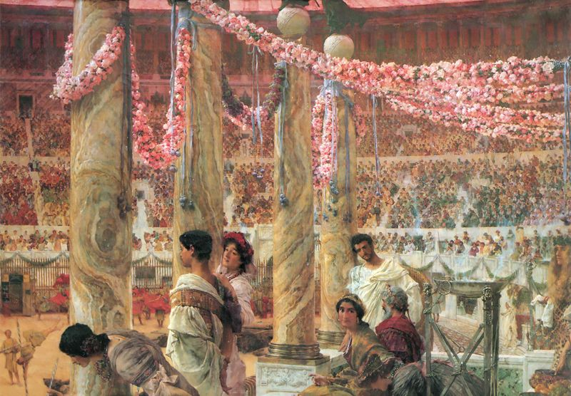 The Severan imperial family portrayed by Lawrence Alma-Tadema, Caracalla and Geta (1907)