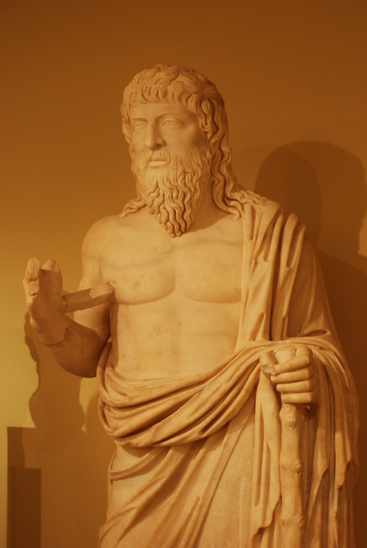 Statue of a wandering philosopher, second century AD, Archaeological Museum Heraklion - photo: George Groutas, Wikimedia Commons <http://commons.wikimedia.org/wiki/File:The_Philosopher_Apollonius_of_Tyana_-_Archaeological_Museum_of_Herakleion.jpg>