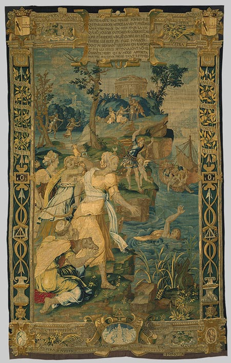 Probably designed by Jean Cousin the Elder and possibly woven by Pierre II Blasse and Jacques Langlois: The Drowning of Britomartis (42.57.1) - New York: The Metropolitan Museum of Art <http://www.metmuseum.org/toah/works-of-art/42.57.1> (October 2006)
