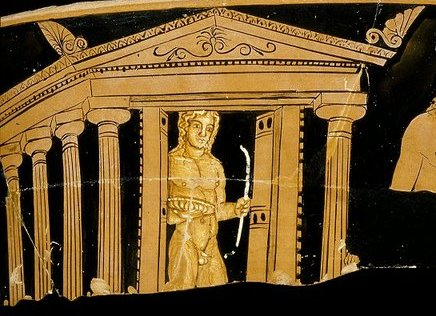 """The opening and closing of the temple doors ..."" - Cult statue of Apollo behind opened temple doors, fragment of red-figure krater, ca. 400-390 BC, APM 02579 - Reproduced with permission of the Allard Pierson Museum, Amsterdam"